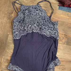Aerie Blue with Embroidered Lace Bodysuit